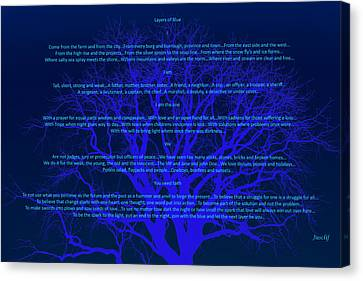 Chip Canvas Print - Layers Of Blue by Cliff Ball