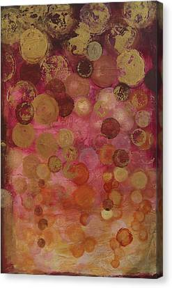 Layers Of Circles On Red Canvas Print by Kristen Abrahamson