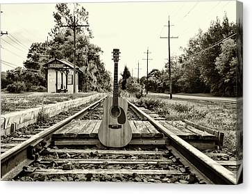 Laying Down Some Tracks In Black And White Canvas Print by Bill Cannon