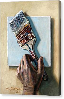 Laying Down The Paint Brush Canvas Print