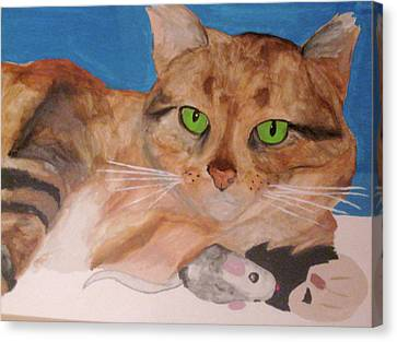 Canvas Print featuring the painting Laze About by Rebecca Wood