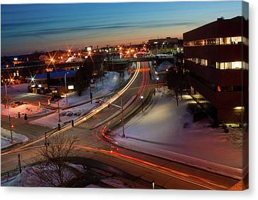 Canvas Print featuring the photograph Lazer Lights In Bangor by Greg DeBeck