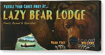Lazy Bear Lodge Sign Canvas Print