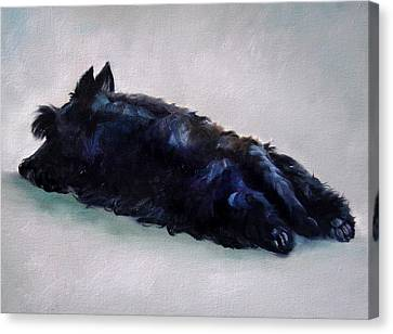 Scottish Dog Canvas Print - Lazy Days by Mary Sparrow