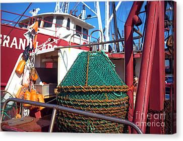 Canvas Print featuring the photograph Lbi Green Fishing Nets by John Rizzuto