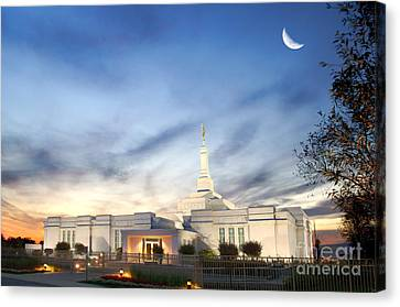 Lds Montreal Temple At Twilight Canvas Print