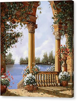Le Arcate Sul Lago Canvas Print by Guido Borelli
