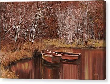 Birch Canvas Print - Le Barche Sullo Stagno by Guido Borelli