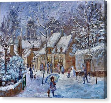 Le Cafe Breizh A Warm Welcome In The Winter Snow Canvas Print by Jeanette Leuers