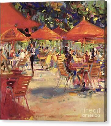 Le Cafe Du Jardin  Canvas Print by Peter Graham