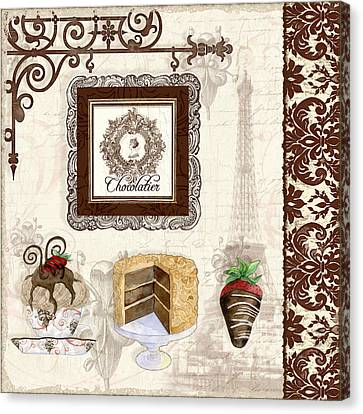 Le Chcolatier - Paris Eiffel Tower Chocolate Perfection Canvas Print by Audrey Jeanne Roberts
