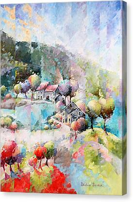 Inspirational. Pointillism Canvas Print - Le Chemin by Beatrice BEDEUR