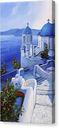 Aegean Canvas Print - Le Chiese Blu by Guido Borelli