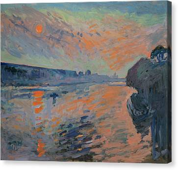 Le Coucher Du Soleil La Meuse Maastricht Canvas Print by Nop Briex