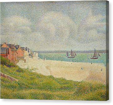 Le Crotoy Looking Upstream Canvas Print by Georges Pierre Seurat