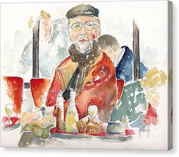Le Dejeuner Cafe Du Marche Rue Cler Paris Canvas Print by Pat Katz