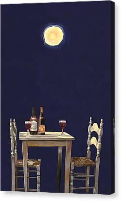 Glass Bottle Canvas Print - Le Ombre Della Luna by Guido Borelli