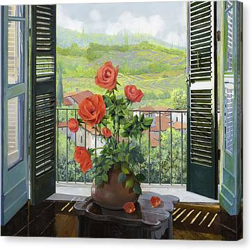Le Persiane Sulla Valle Canvas Print by Guido Borelli