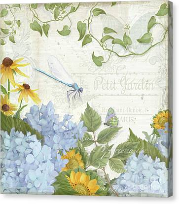 Canvas Print featuring the painting Le Petit Jardin 2 - Garden Floral W Dragonfly, Butterfly, Daisies And Blue Hydrangeas by Audrey Jeanne Roberts