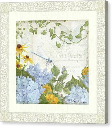 Canvas Print featuring the painting Le Petit Jardin 2 - Garden Floral W Dragonfly, Butterfly, Daisies And Blue Hydrangeas W Border by Audrey Jeanne Roberts