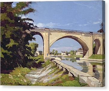 Le Pont Canal A Briare Canvas Print by Henri Joseph Harpignies