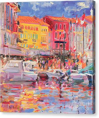 Port Town Canvas Print - Le Port De St Tropez by Peter Graham