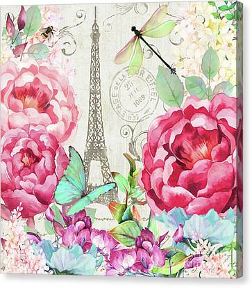 Le Printemps A Paris, Springtime In Paris Floral Art Canvas Print by Tina Lavoie