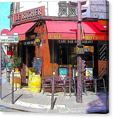 Le Richer Cafe Bar In Paris Canvas Print by Jan Matson