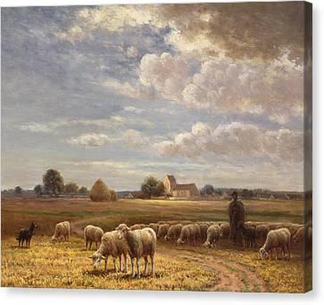 Lambing Canvas Print - Le Troupeau by Paul Chaigneau