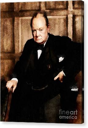 Leaders Of Wwii - Winston Churchill Canvas Print