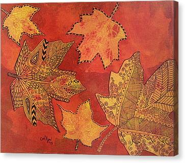 Leaf Prints And Zentangles Canvas Print