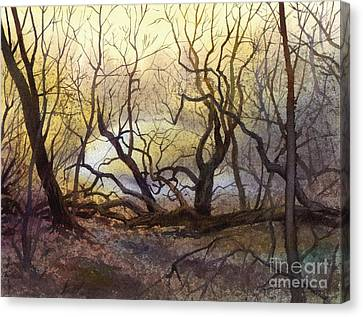 Canvas Print featuring the painting Leafless Trees by Sergey Zhiboedov