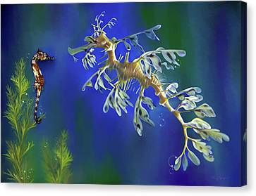 Canvas Print featuring the digital art Leafy Sea Dragon by Thanh Thuy Nguyen