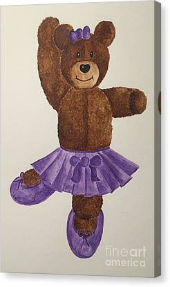 Canvas Print featuring the painting Leah's Ballerina Bear 1 by Tamir Barkan