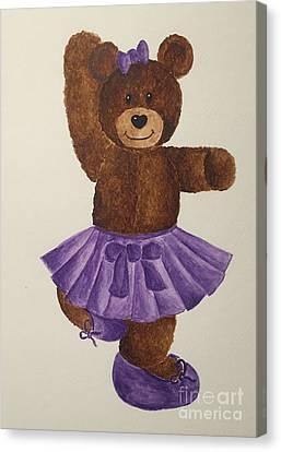 Canvas Print featuring the painting Leah's Ballerina Bear 2 by Tamir Barkan