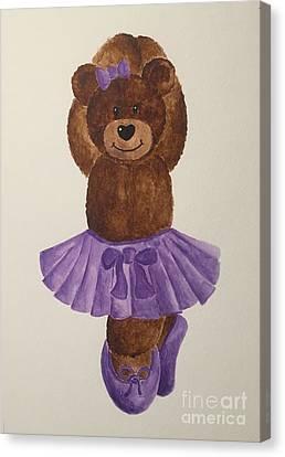 Canvas Print featuring the painting Leah's Ballerina Bear 3 by Tamir Barkan