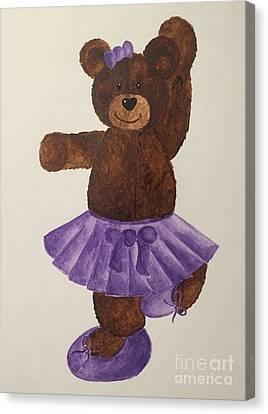 Canvas Print featuring the painting Leah's Ballerina Bear 4 by Tamir Barkan