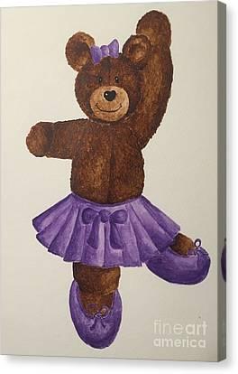 Canvas Print featuring the painting Leah's Ballerina Bear 5 by Tamir Barkan