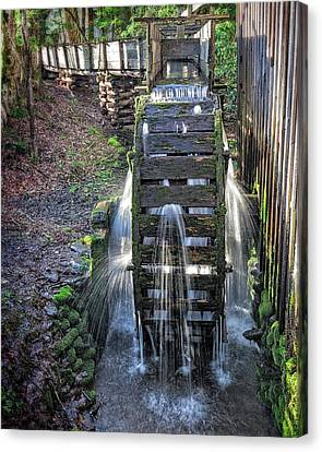 Canvas Print featuring the photograph Leaky Mill Wheel by Alan Raasch