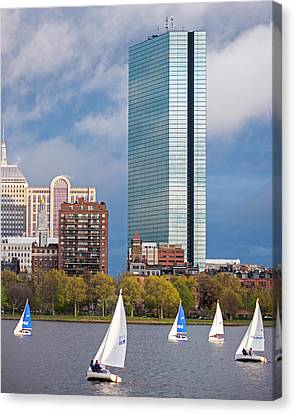 Lean Into It- Sailboats By The Hancock On The Charles River Boston Ma Canvas Print by Toby McGuire