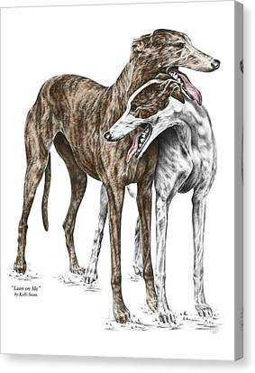 Lean On Me - Greyhound Dogs Print Color Tinted Canvas Print by Kelli Swan