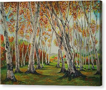 Leaning Birches Canvas Print by Charles Hetenyi