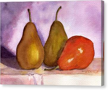 Leaning Pear Canvas Print by Lynne Reichhart