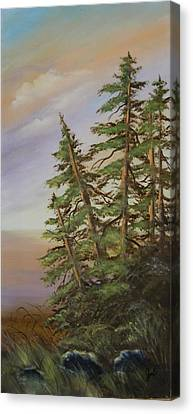 Canvas Print featuring the painting Leaning Trees by Joni McPherson