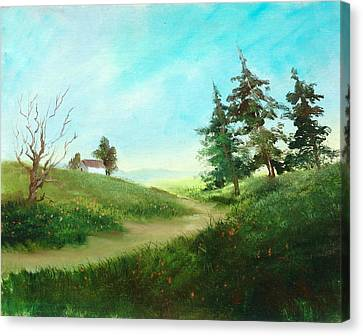 Leaning Trees Canvas Print by Sally Seago