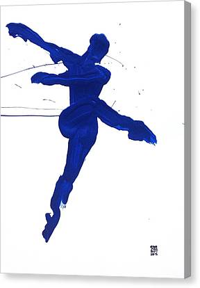 Canvas Print featuring the painting Leap Brush Blue 1 by Shungaboy X