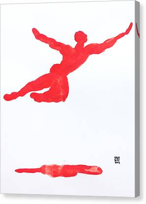 Canvas Print featuring the painting Leap Water Vermillion by Shungaboy X