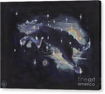 Leaping Dog Constellation Canvas Print by Robin Wiesneth