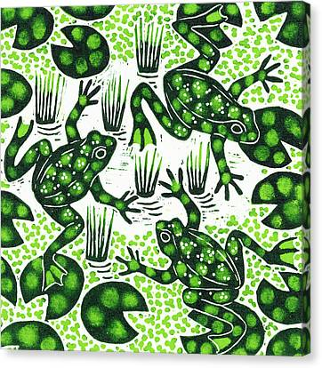 Leaping Frogs Canvas Print by Nat Morley
