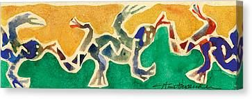 Leaping Lizards Canvas Print by Annie Alexander